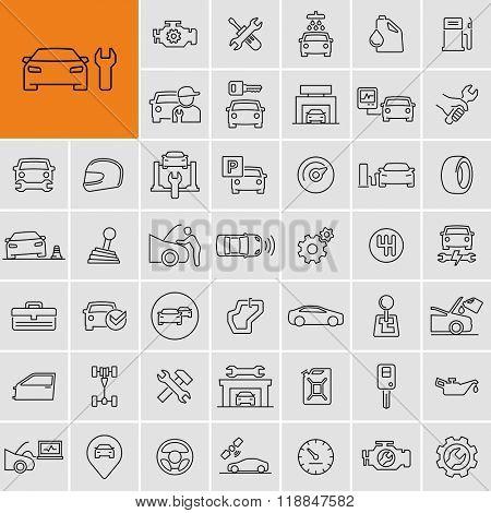 Vector car repair service icons set