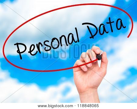 Man Hand Writing Personal Data  With Black Marker On Visual Screen