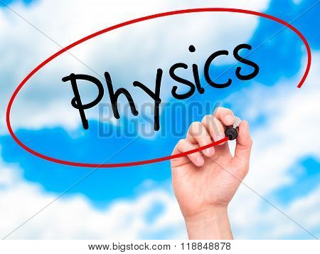 Man Hand Writing Physics With Black Marker On Visual Screen