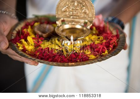 Woman Holding Puja Thali
