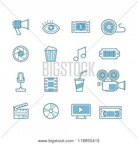set of line movie design elements