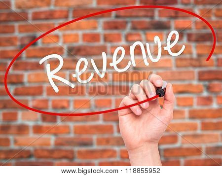 Man Hand Writing Revenue With Black Marker On Visual Screen