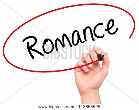 Man Hand Writing Romance With Black Marker On Visual Screen