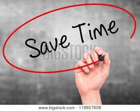 Man Hand Writing Save Time With Black Marker On Visual Screen