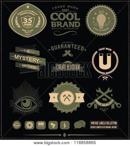 vintage label badge set 11