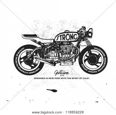 vintage race motorcycle for apparel