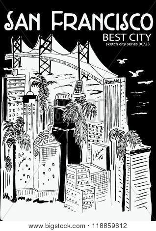 san francisco city sketch illustration