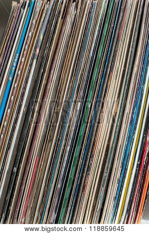 Vintage 33 vinyl Long Playing Row On Shelf