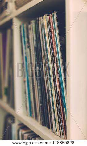 Vintage 33 vinyl Long Playing Row On Shelf