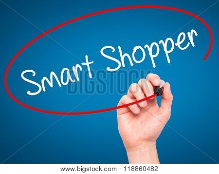 Man Hand Writing Smart Shopper With Black Marker On Visual Screen