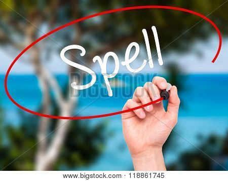 Man Hand Writing Spell With Black Marker On Visual Screen