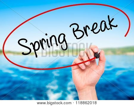 Man Hand Writing Spring Break No With Black Marker On Visual Screen