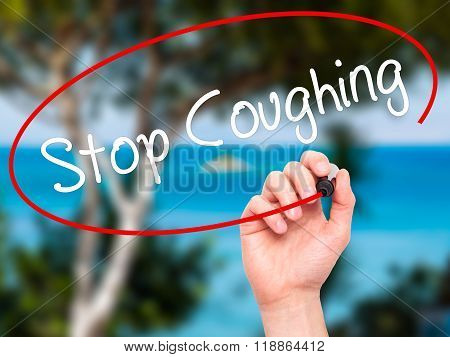 Man Hand Writing Stop Coughing With Black Marker On Visual Screen