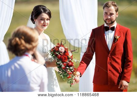 The wedding ceremony, bride and groom give oaths listen to speaker. Sunny summer day. color style de