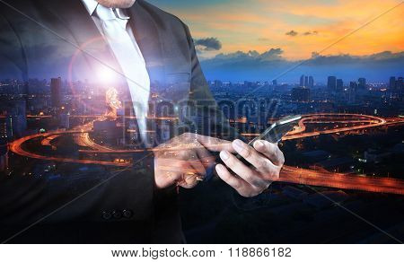 Multi Exposure Business Man And Traffic In Town Touching On Smart Phone Using For Internet Network T