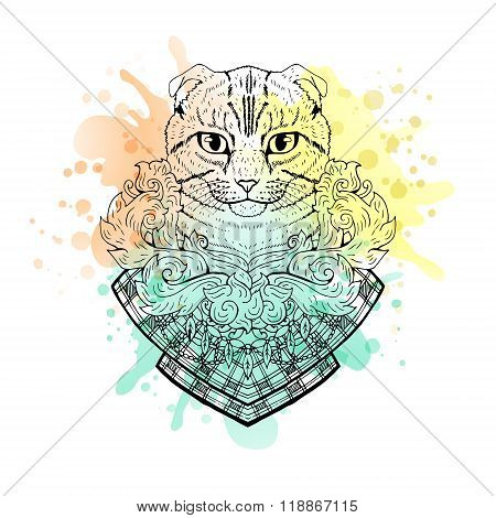 Black and white animal Cat head, watercolor abstract art, tattoo, doodle sketch.