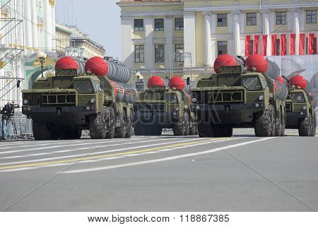 A convoy of rocket launchers S-300PM moves on the Palace square. Rehearsal of parade in honor of Vic