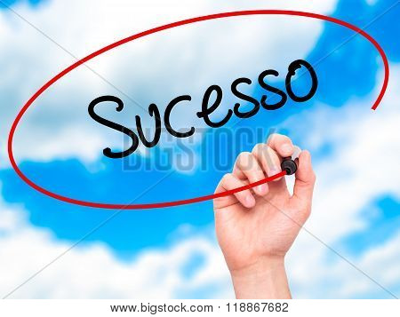 Man Hand Writing Sucesso (success In Portuguese) With Black Marker On Visual Screen