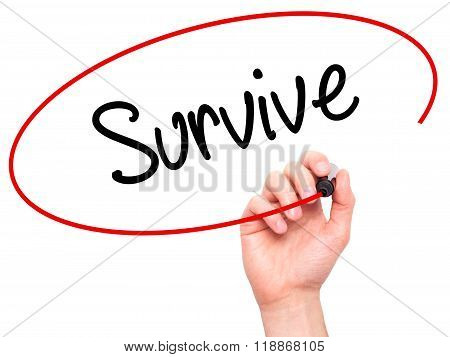 Man Hand Writing Survive With Black Marker On Visual Screen