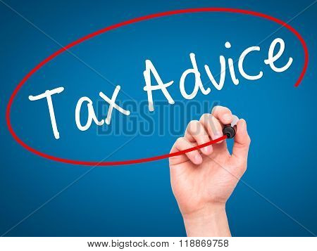Man Hand Writing Tax Advice With Black Marker On Visual Screen