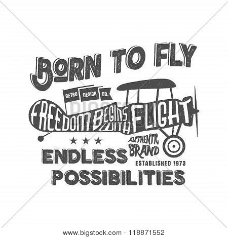 Vintage airplane lettering for printing. Vector prints, old school aircraft poster. Retro air show t