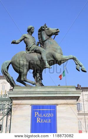 Warrior on horse statue at Turin
