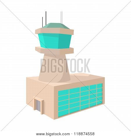 Airport control tower cartoon icon