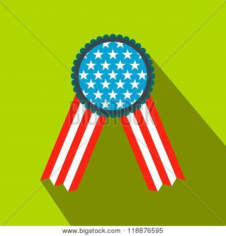 Ribbon rosette in the USA flag colors flat icon