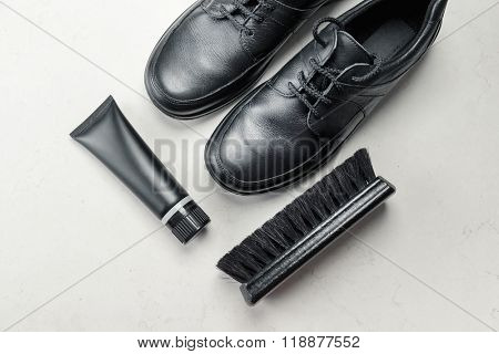 Black Shoes with Polishing Brush