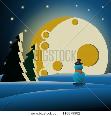 Snowman in the forest at night
