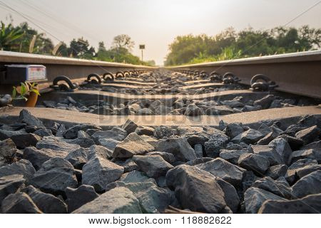 Stone Foreground On Railway Track