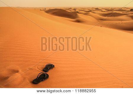 Sandals in the desert.