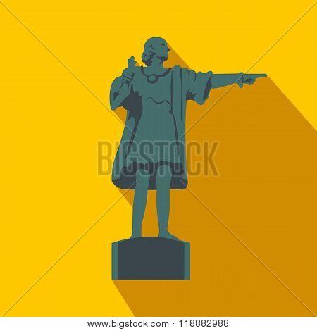 Cristobal Colon sculpture in Barcelona flat icon