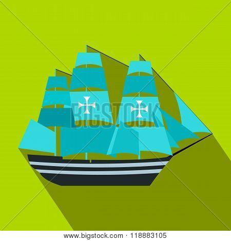 Columbus ship flat icon