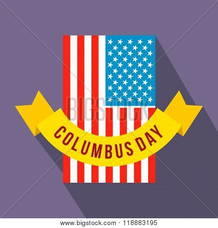 American flag with Columbus Day ribbon flat icon