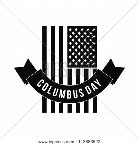 American flag with Columbus Day ribbon