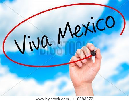 Man Hand Writing Viva Mexico With Black Marker On Visual Screen