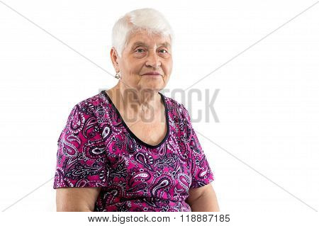 Sitting elderly lady with white hair