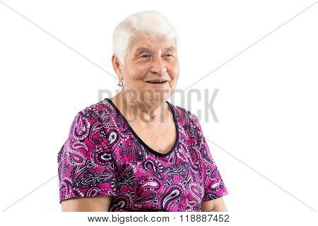 Happy smiling elderly lady with white hair
