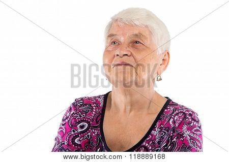 Elderly lady looking up