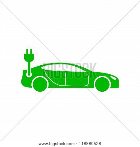 Green electric car icon, simple style