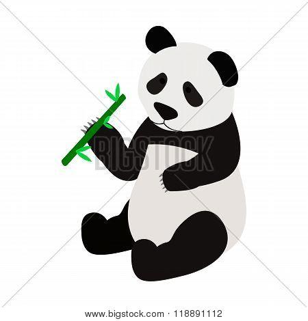 Panda bear eating bamboo shoot icon