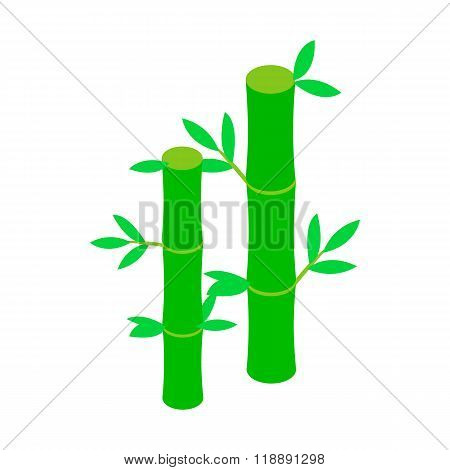Green bamboo stem icon, isometric 3d style