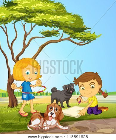 Two girls and two dogs at the park illustration