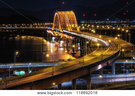 Banghwa Bridge At Night Over Han River