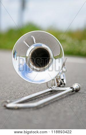 Fragment Outdoor Lying Trombone Closeup