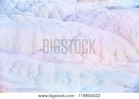 White wall on travertines, textured background at Pamukkale reserve