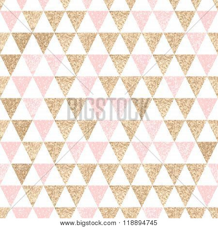 Seamless Geometric Abstract Background. Gold And Pink Triangles.