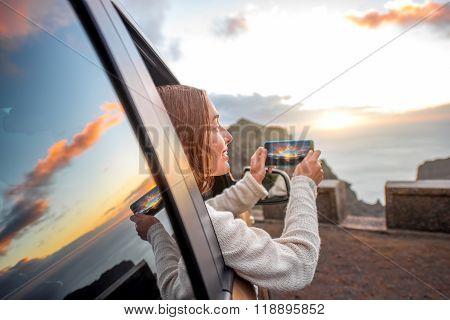 Woman traveling by car on La Gomera island