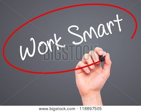 Man Hand Writing Work Smart With Black Marker On Visual Screen